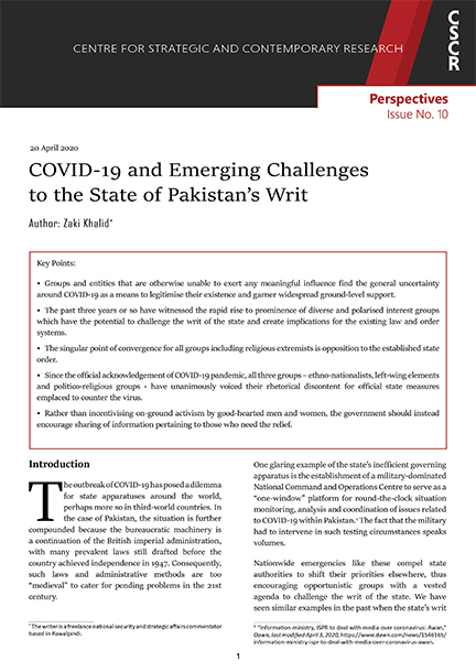 COVID-19 and Emerging Challenges to the State of Pakistan's Writ