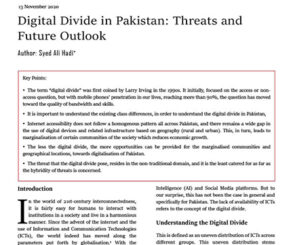 Digital Divide in Pakistan Threats and Future Outlook