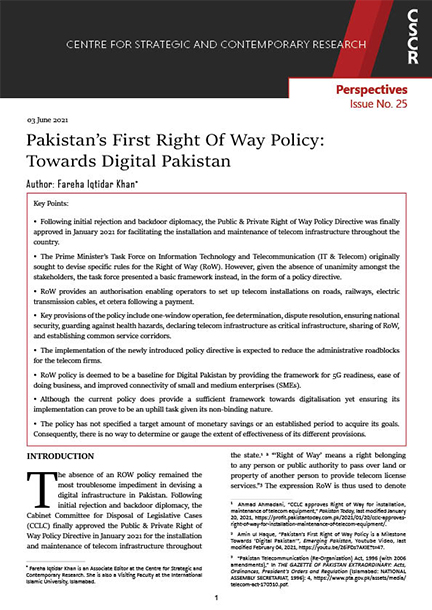 Pakistan's First Right Of Way Policy: Towards Digital Pakistan